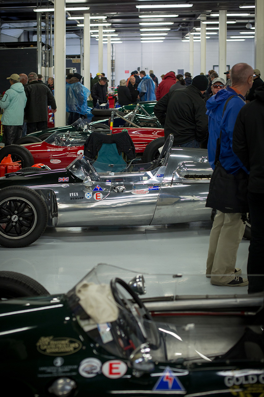 Sheltering from the rain at Silverstone Classic